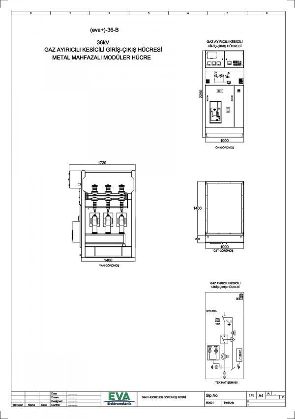 EVA+-36-B Gaz Ayırıcılı Kesicili Giriş Çıkış Hücresi (Metal Mahfazalı Modüler Hücre)