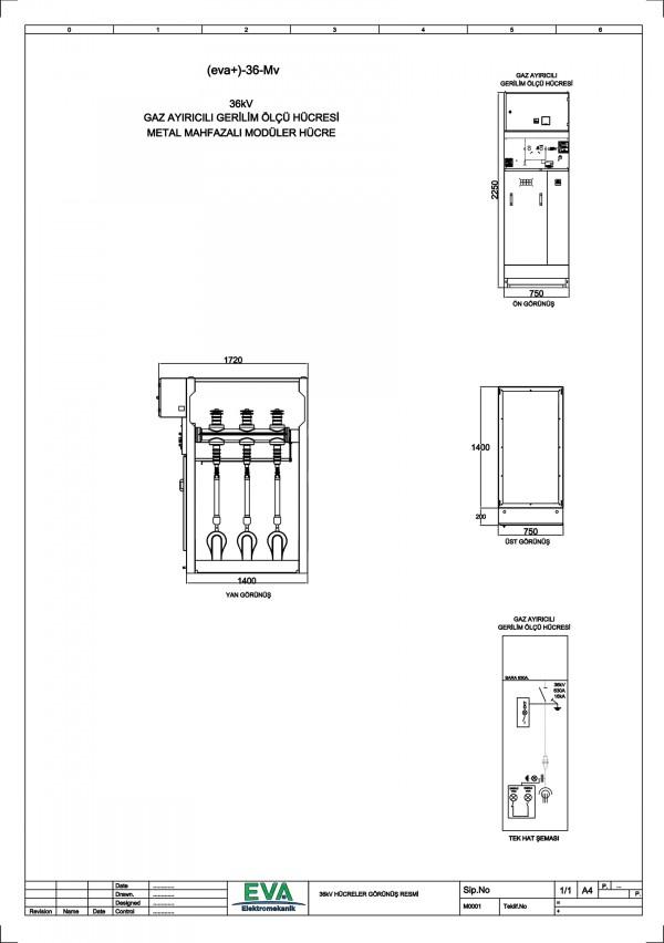 EVA+-36-Mv Gaz Ayırıcılı Gerilim Ölçü Hücresi (Metal Mahfazalı Modüler Hücre)