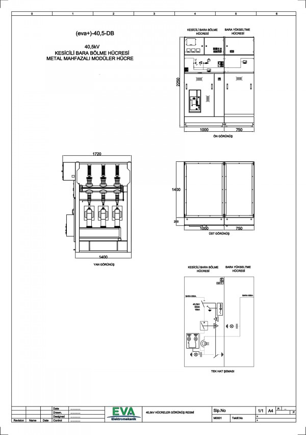 EVA+-40,5-DB Kesicili Bara Bölme Hücresi (Metal Mahfazalı Modüler Hücre)
