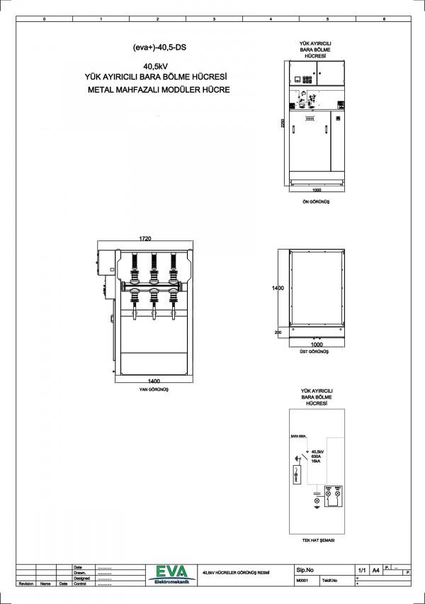 EVA+-40,5-DS Yük Ayırıcılı Bara Bölme Hücresi (Metal Mahfazalı Modüler Hücre)