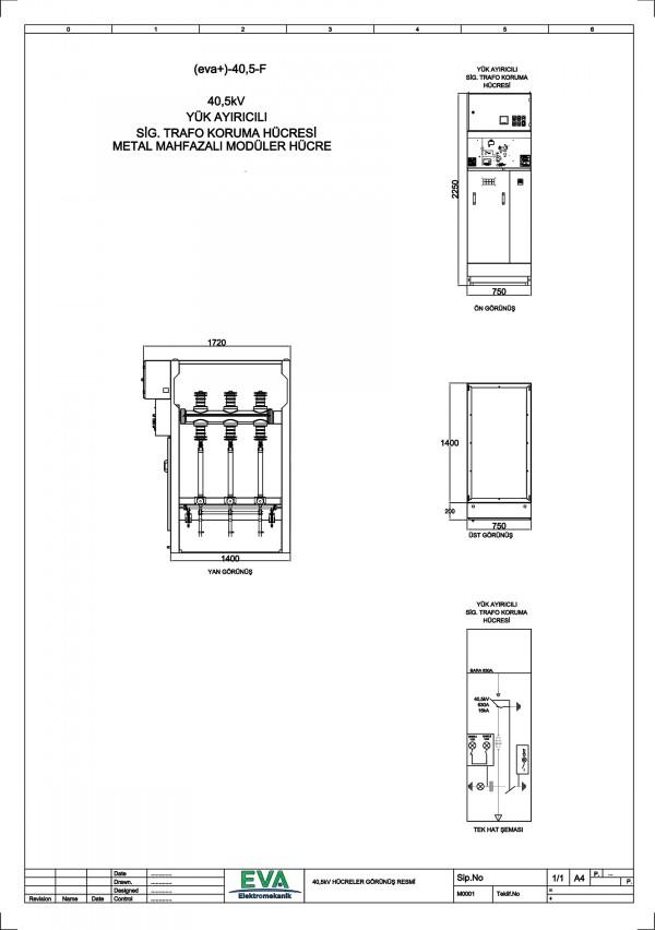 EVA+-40,5-F Yük Ayırıcılı Sigorta Trafo Koruma Hücresi (Metal Mahfazalı Modüler Hücre)