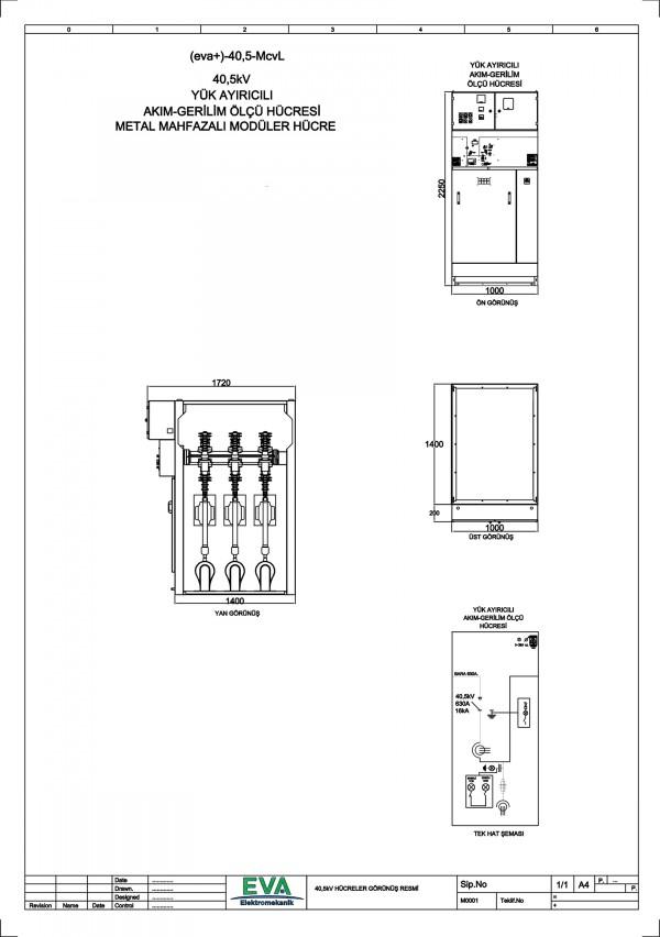 EVA+-40,5-McvL Yük Ayırıcılı Akım Gerilim Ölçü Hücresi (Metal Mahfazalı Modüler Hücre)