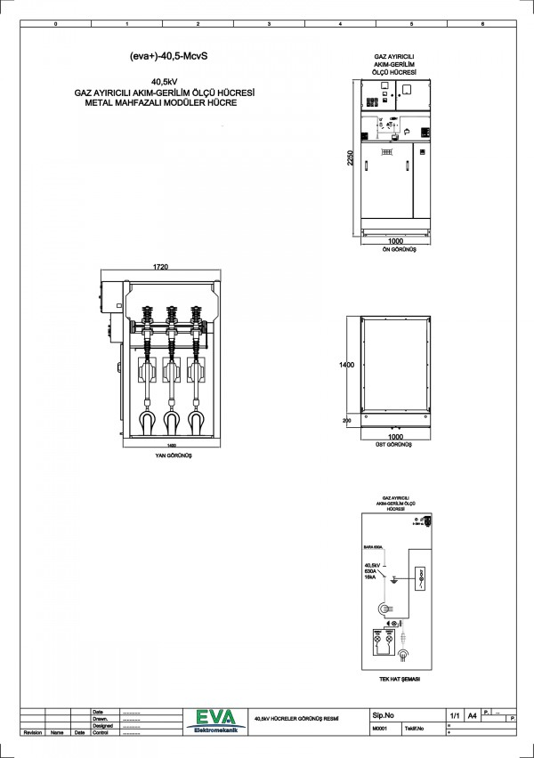 EVA+-40,5-McvS Gaz Ayırıcılı Akım Gerilim Ölçü Hücresi (Metal Mahfazalı Modüler Hücre)