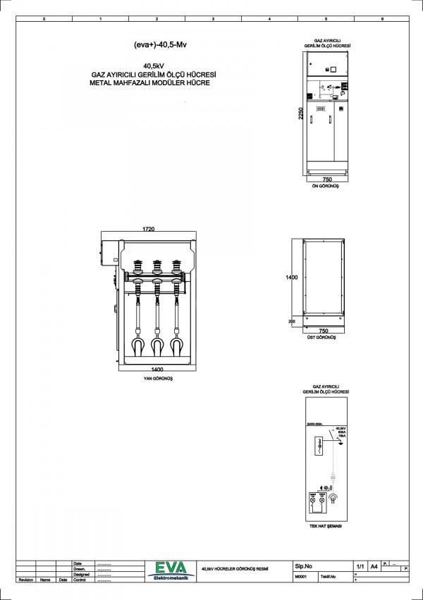 EVA+-40,5-Mv Gaz Ayırıcılı Gerilim Ölçü Hücresi (Metal Mahfazalı Modüler Hücre)
