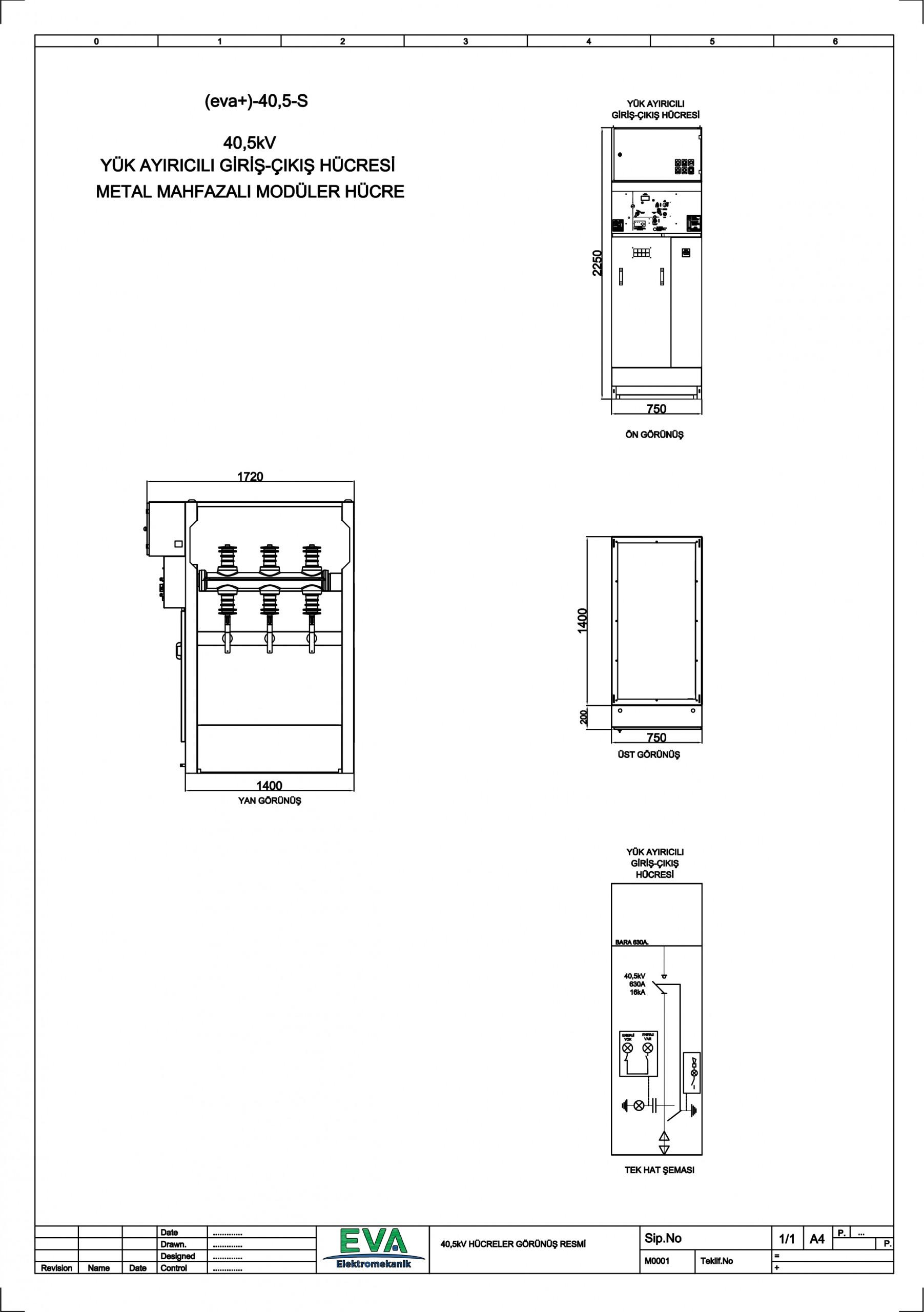 EVA+-40,5-S Yük Ayırıcılı Giriş Çıkış Hücresi (Metal Mahfazalı Modüler Hücre)