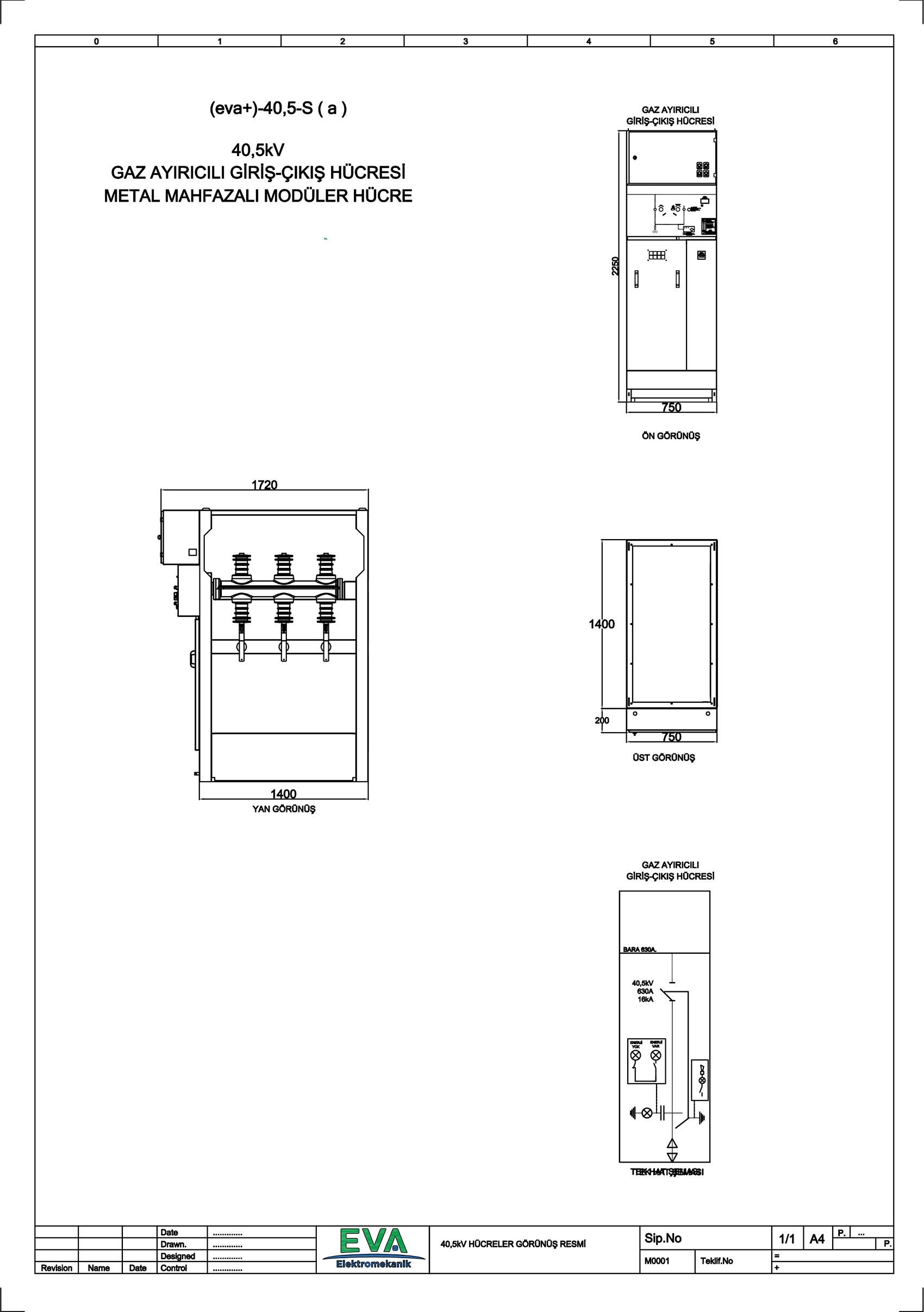 EVA+-40,5-Sa Gaz Ayırıcılı Giriş Çıkış Hücresi (Metal Mahfazalı Modüler Hücre)