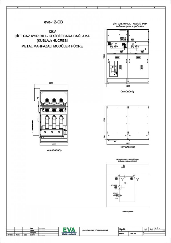 EVA 12-CB Çift Gaz Ayırıcılı Kesicili Kublaj Hücresi (Metal Mahfazalı Modüler Hücre)