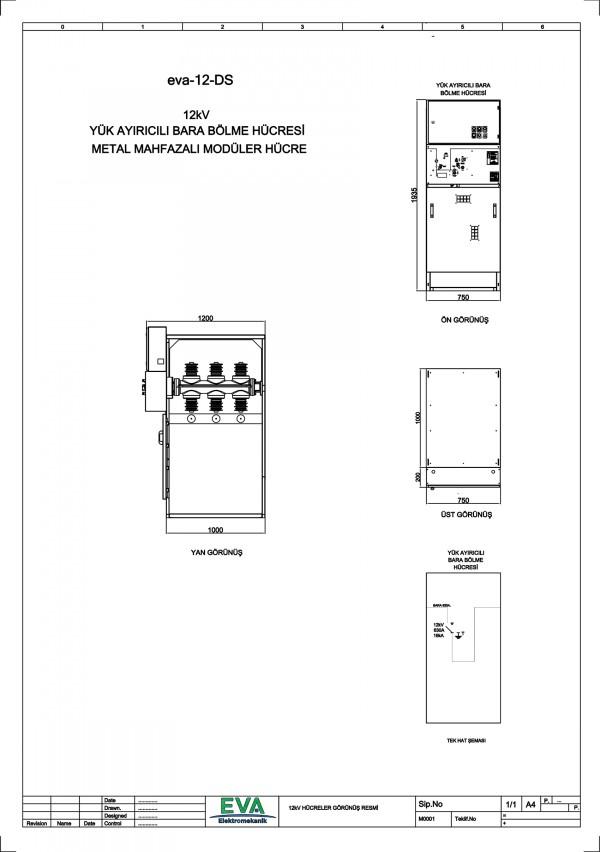 EVA 12-DS Yük Ayırıcılı Bara Bölme Hücresi (Metal Mahfazalı Modüler Hücre)