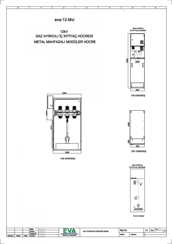 EVA-12-Mvi Gaz Ayırıcılı İç İhtiyaç Hücresi (Metal Mahfazalı Modüler Hücre)