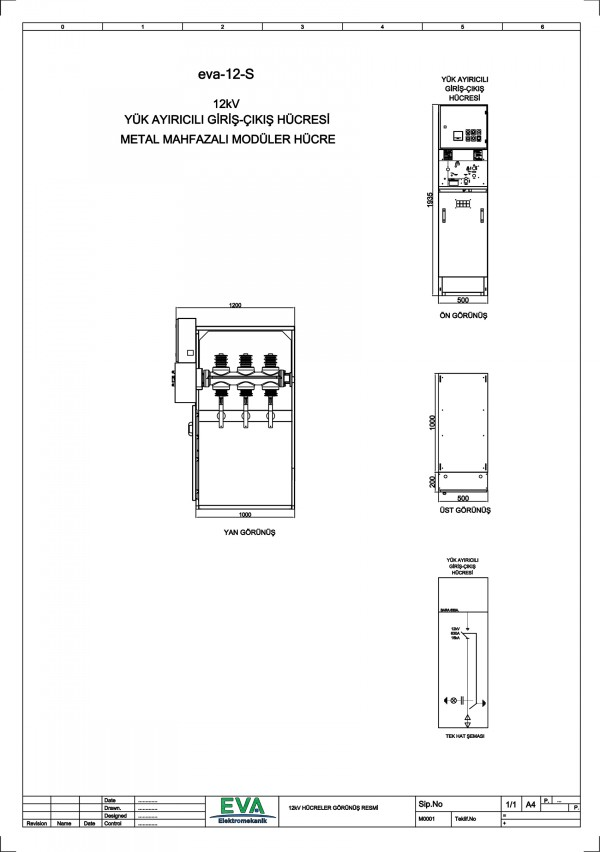EVA-12-S Yük Ayırıcılı Giriş Çıkış Hücresi (Metal Mahfazalı Modüler Hücre)