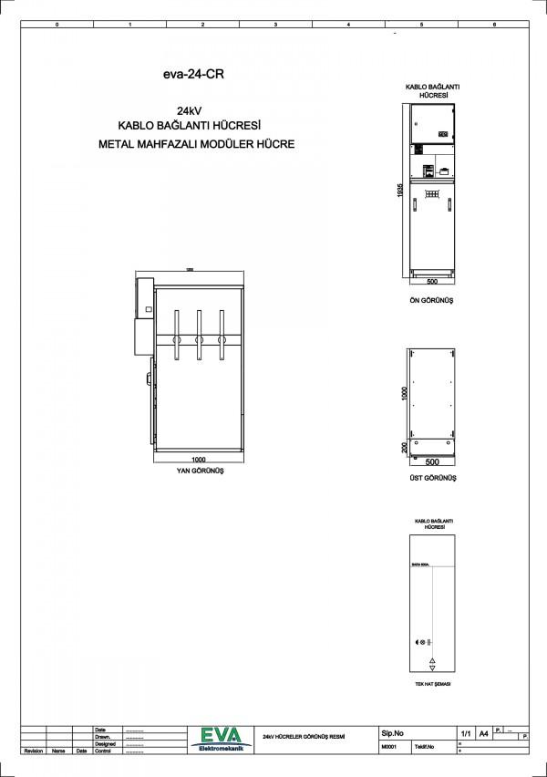 EVA-24-CR Kablo Bağlantı Hücresi (Metal Mahfazalı Modüler Hücre)