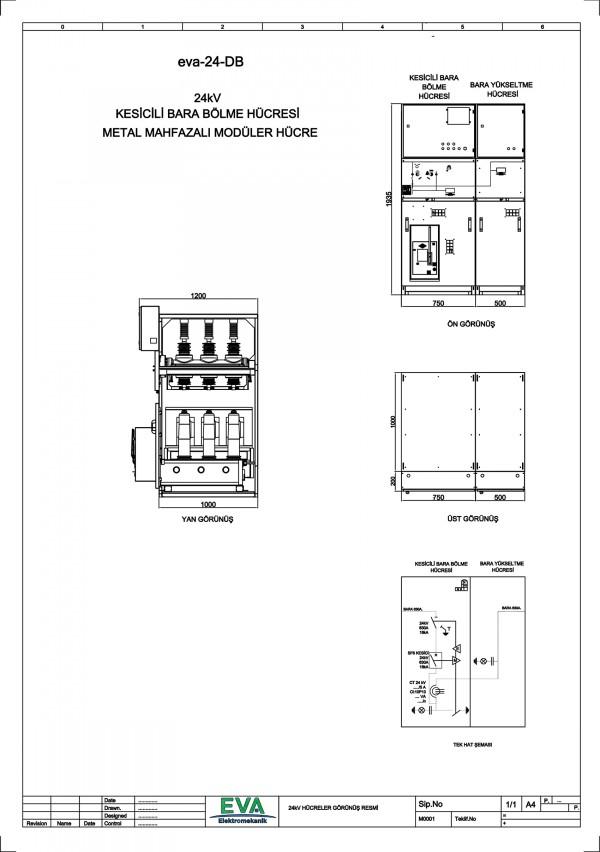 EVA-24-DB Kesicili Bara Bölme Hücresi (Metal Mahfazalı Modüler Hücre)
