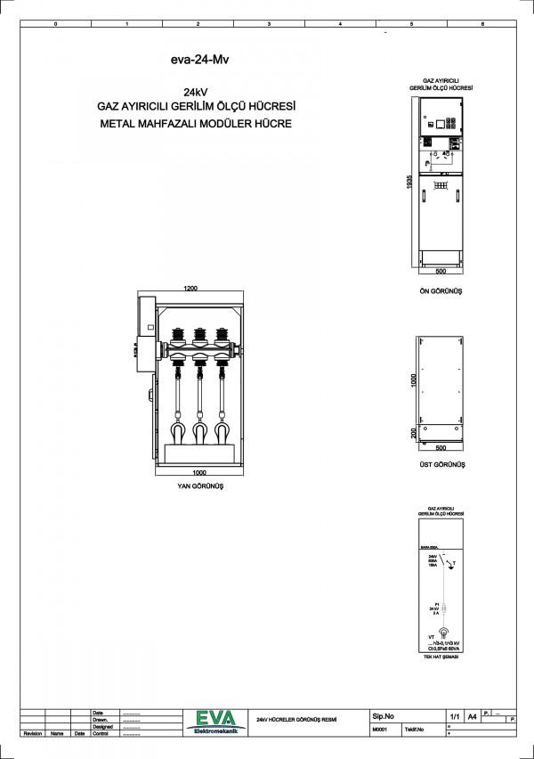 EVA-24-Mv Gaz Ayırıcılı Gerilim Ölçü Hücresi (Metal Mahfazalı Modüler Hücre)