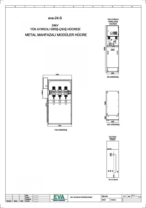 EVA-24-S Yük Ayırıcılı Giriş Çıkış Hücresi (Metal Mahfazalı Modüler Hücre)