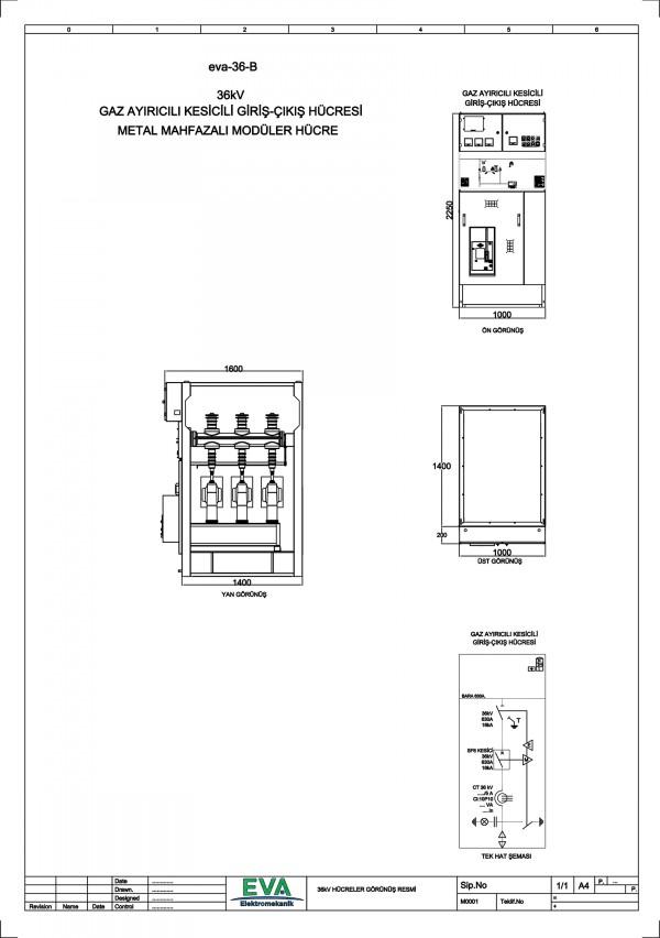 EVA-36-B Gaz Ayırıcılı Kesicili Giriş Çıkış Hücresi (Metal Mahfazalı Modüler Hücre)
