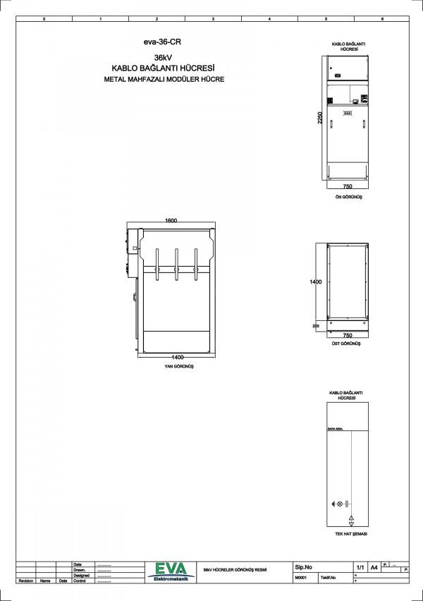 EVA-36-CR Kablo Bağlantı Hücresi (Metal Mahfazalı Modüler Hücre)