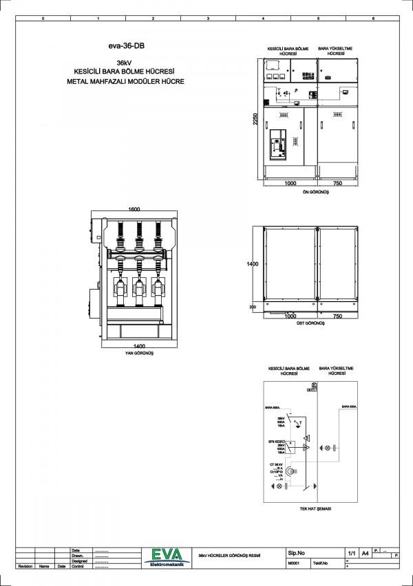 EVA-36-DB Kesicili Bara Bölme Hücresi (Metal Mahfazalı Modüler Hücre)