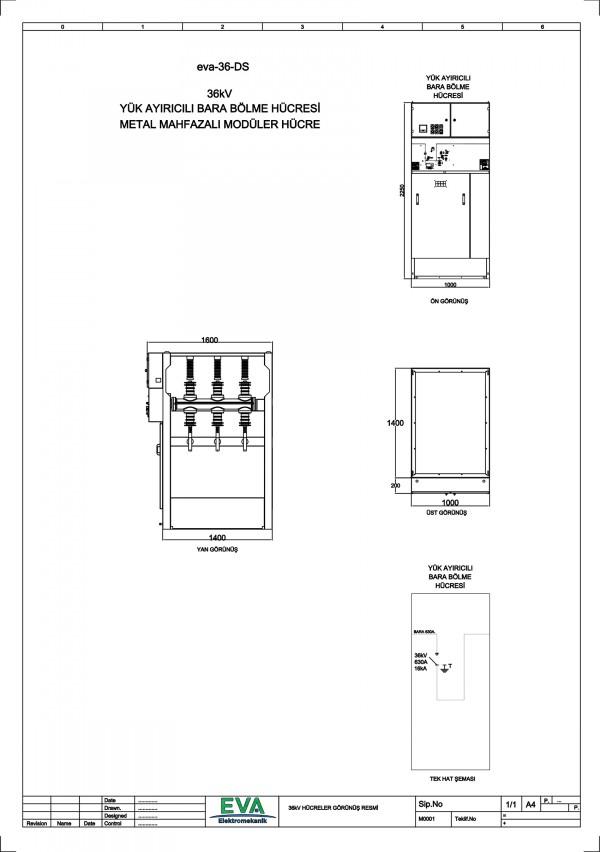 EVA-36-DS Yük Ayırıcılı Bara Bölme Hücresi (Metal Mahfazalı Modüler Hücre)