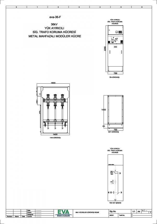 EVA-36-F Yük Ayırıcılı Sigorta Trafo Hücresi (Metal Mahfazalı Modüler Hücre)