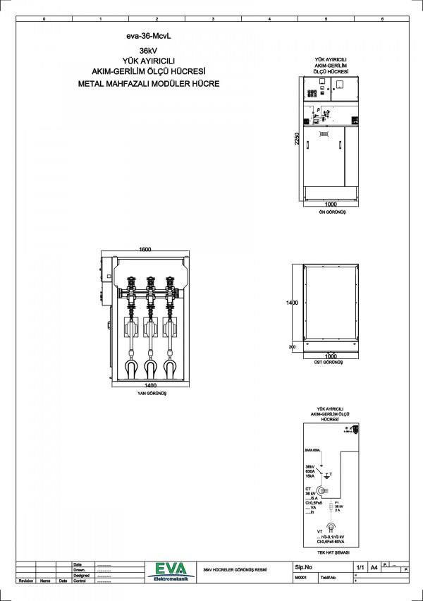 EVA-36-McvL Yük Ayırıcılı Akım Gerilim Ölçü Hücresi (Metal Mahfazalı Modüler Hücre)