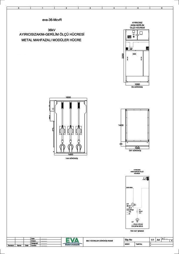 EVA-36-McvR Ayırıcısız Akım Gerilim Ölçü Hücresi (Metal Mahfazalı Modüler Hücre)