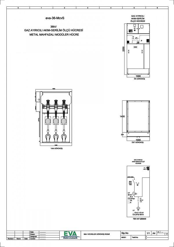 EVA-36-McvS Gaz Ayırıcılı Akım Gerilim Ölçü Hücresi (Metal Mahfazalı Modüler Hücre)