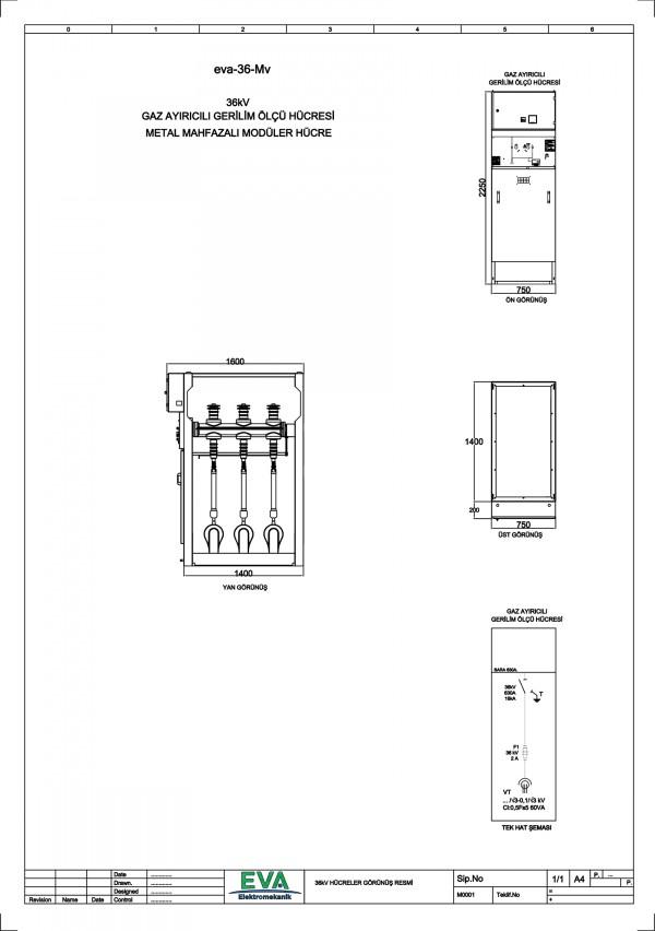 EVA-36-Mv Gaz Ayırıcılı Gerilim Ölçü Hücresi (Metal Mahfazalı Modüler Hücre)