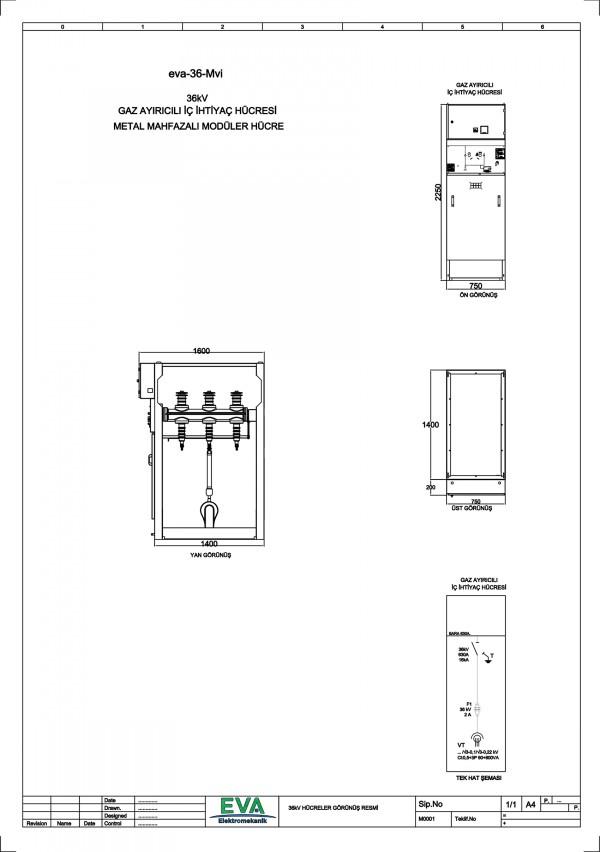 EVA-36-Mvi Gaz Ayırıcılı İç İhtiyaç Hücresi (Metal Mahfazalı Modüler Hücre)
