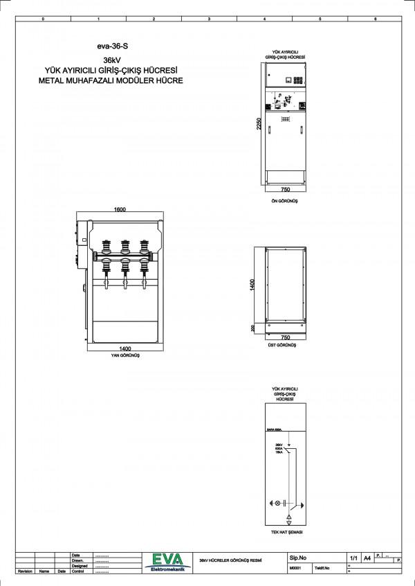 EVA-36-S Yük Ayırıcılı Giriş Çıkış Hücresi (Metal Mahfazalı Modüler Hücre)