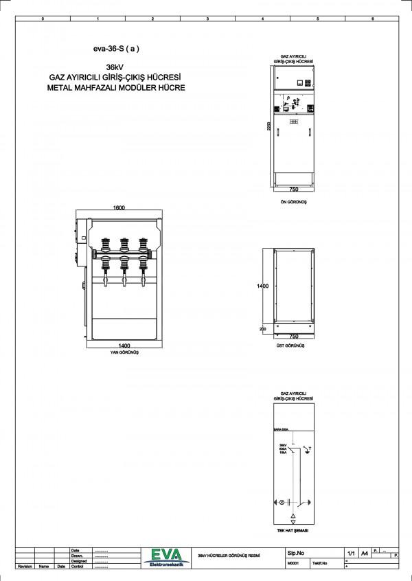 EVA-36-S(a) Gaz Ayırıcılı Giriş Çıkış Hücresi (Metal Mahfazalı Modüler Hücre)