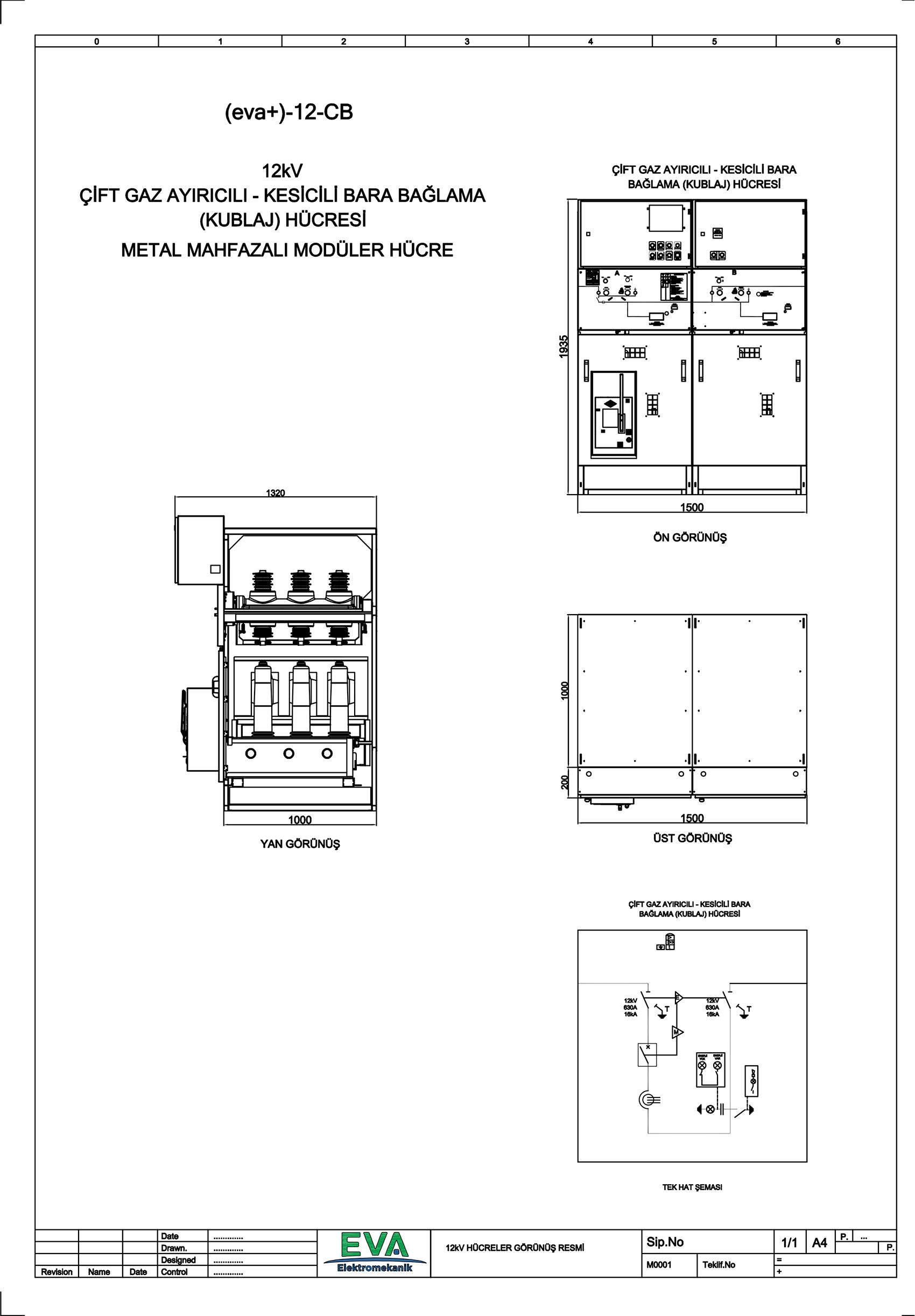EVA+-12-CB Çift Gaz Ayırıcılı Kesicili Kublaj (Bara Bağlama) Hücresi (Metal Mahfazalı Modüler Hücre)