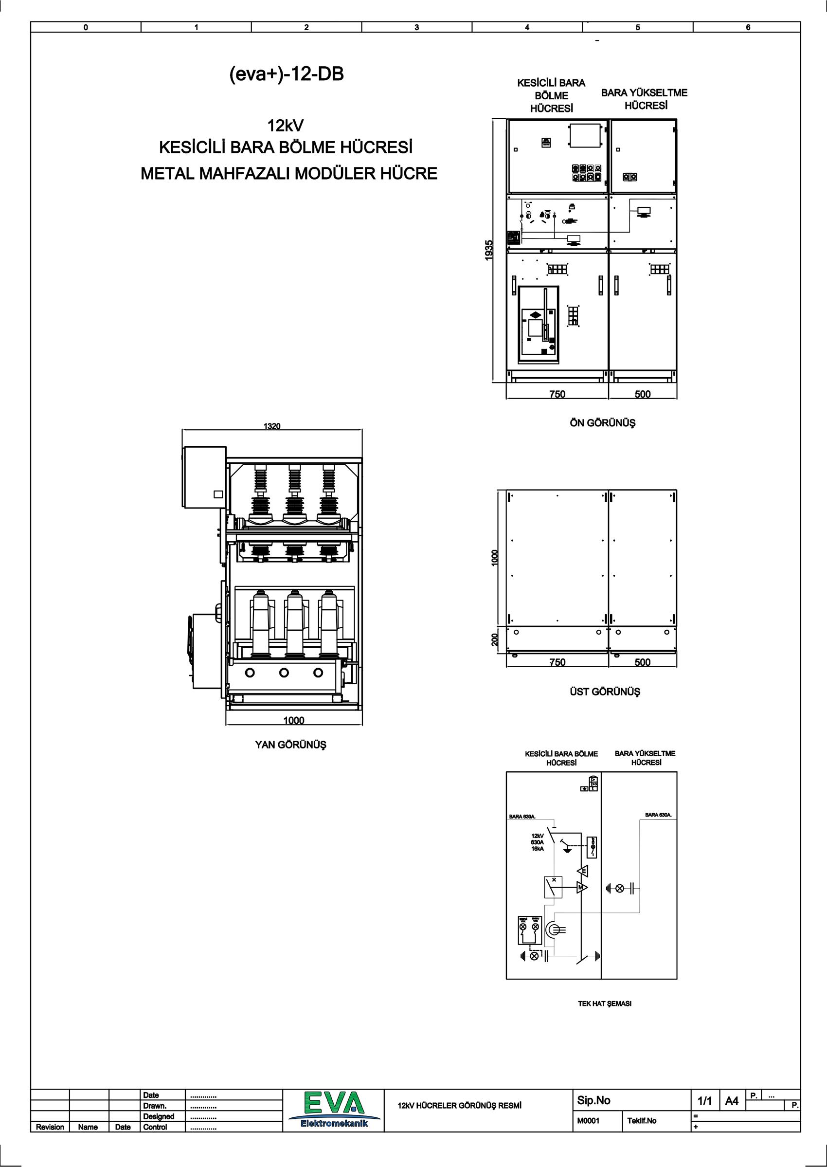 EVA+-12-DB Kesicili Bara Bölme Hücresi (Metal Mahfazalı Modüler Hücre)