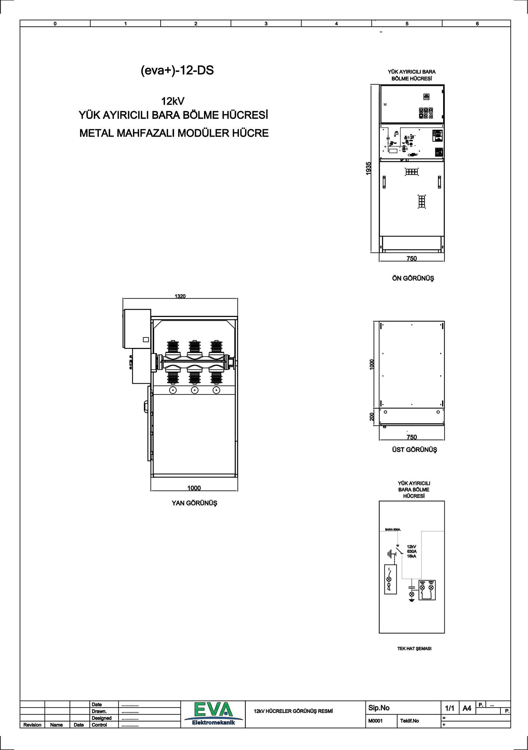 EVA+-12-DS Yük Ayırıcılı Bara Bölme Hücresi (Metal Mahfazalı Modüler Hücre)