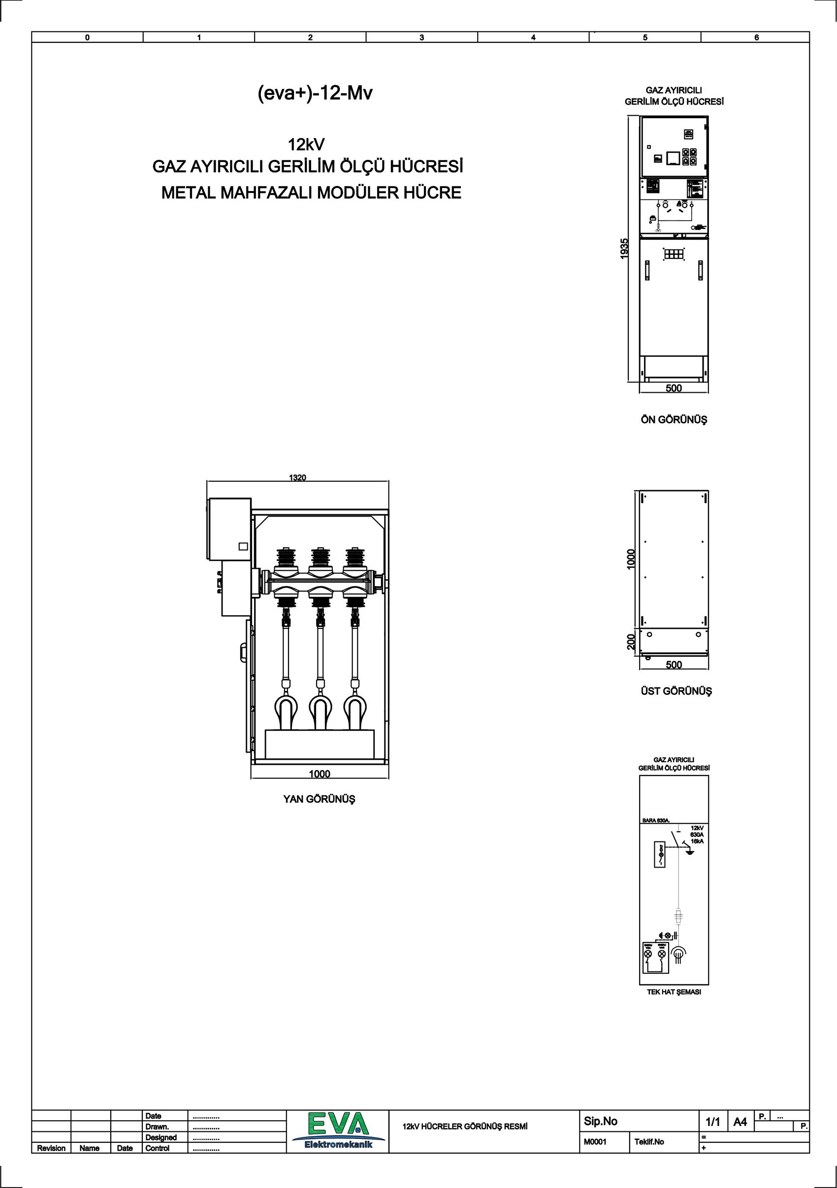 EVA+-12-Mv Gaz Ayırıcılı Gerilim Ölçü Hücresi (Metal Mahfazalı Modüler Hücre)