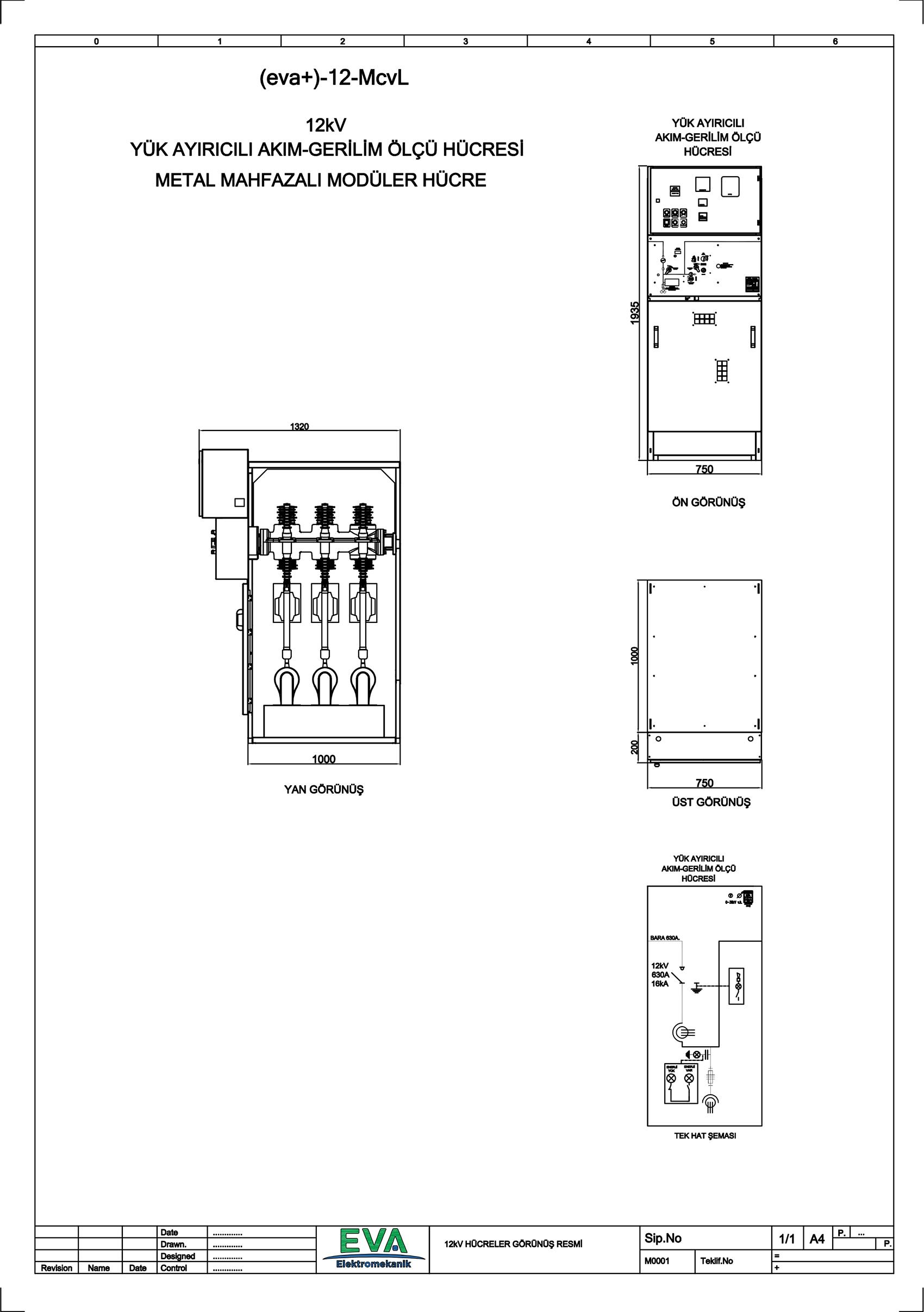 EVA+-12-McvL Yük Ayırıcılı Akım Gerilim Ölçü Hücresi (Metal Mahfazalı Modüler Hücre)