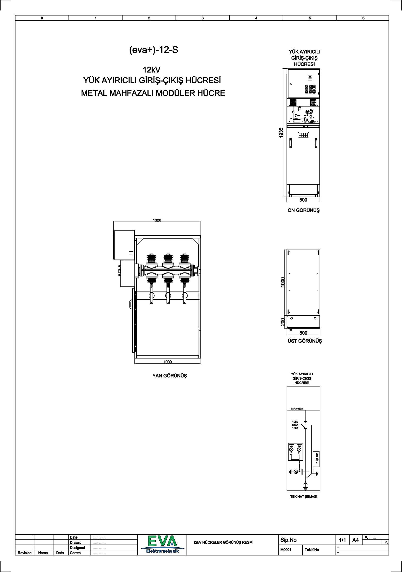 EVA+-12-S Yük Ayırıcılı Giriş Çıkış Hücresi (Metal Mahfazalı Modüler Hücre)