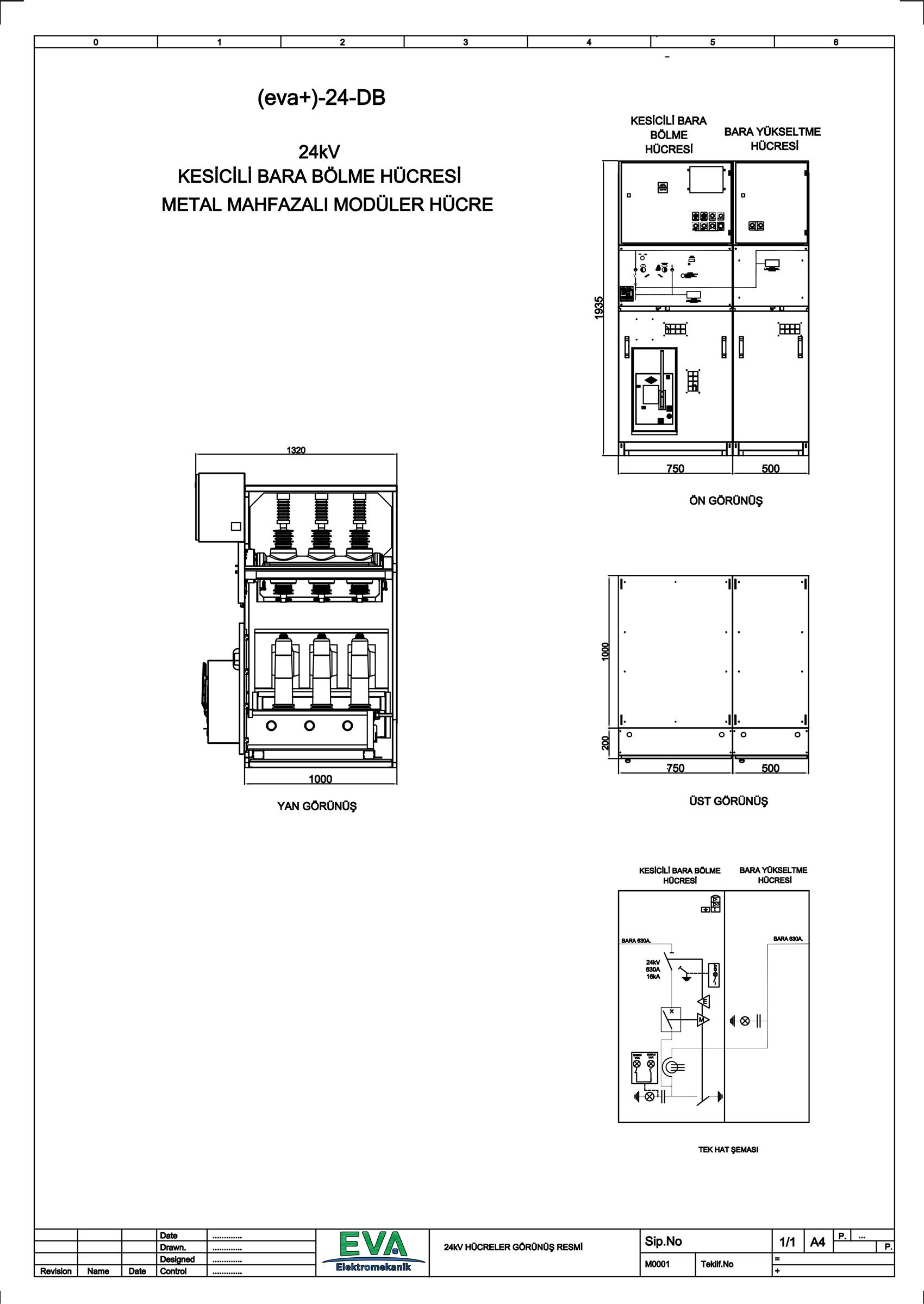 EVA+-24-DB Kesicili Bara Bölme Hücresi (Metal Mahfazalı Modüler Hücre)