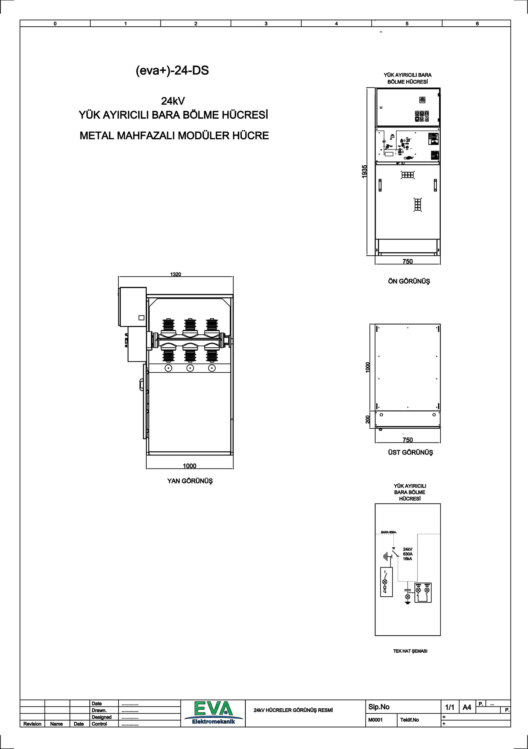EVA+-24-DS Yük Ayırıcılı Bara Bölme Hücresi (Metal Mahfazalı Modüler Hücre)