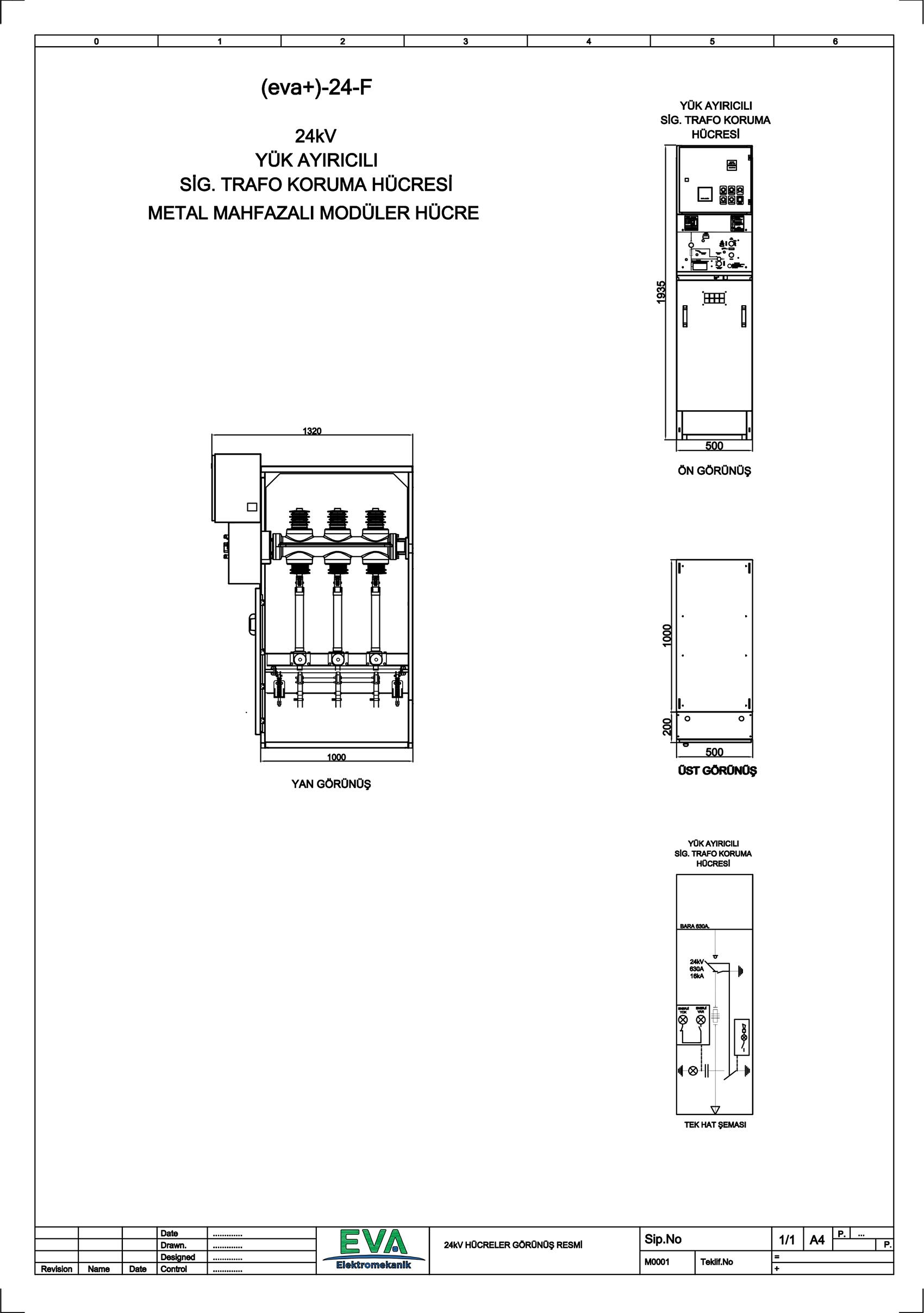EVA+-24-F Yük Ayırıcılı Sigorta Trafo Koruma Hücresi (Metal Mahfazalı Modüler Hücre)