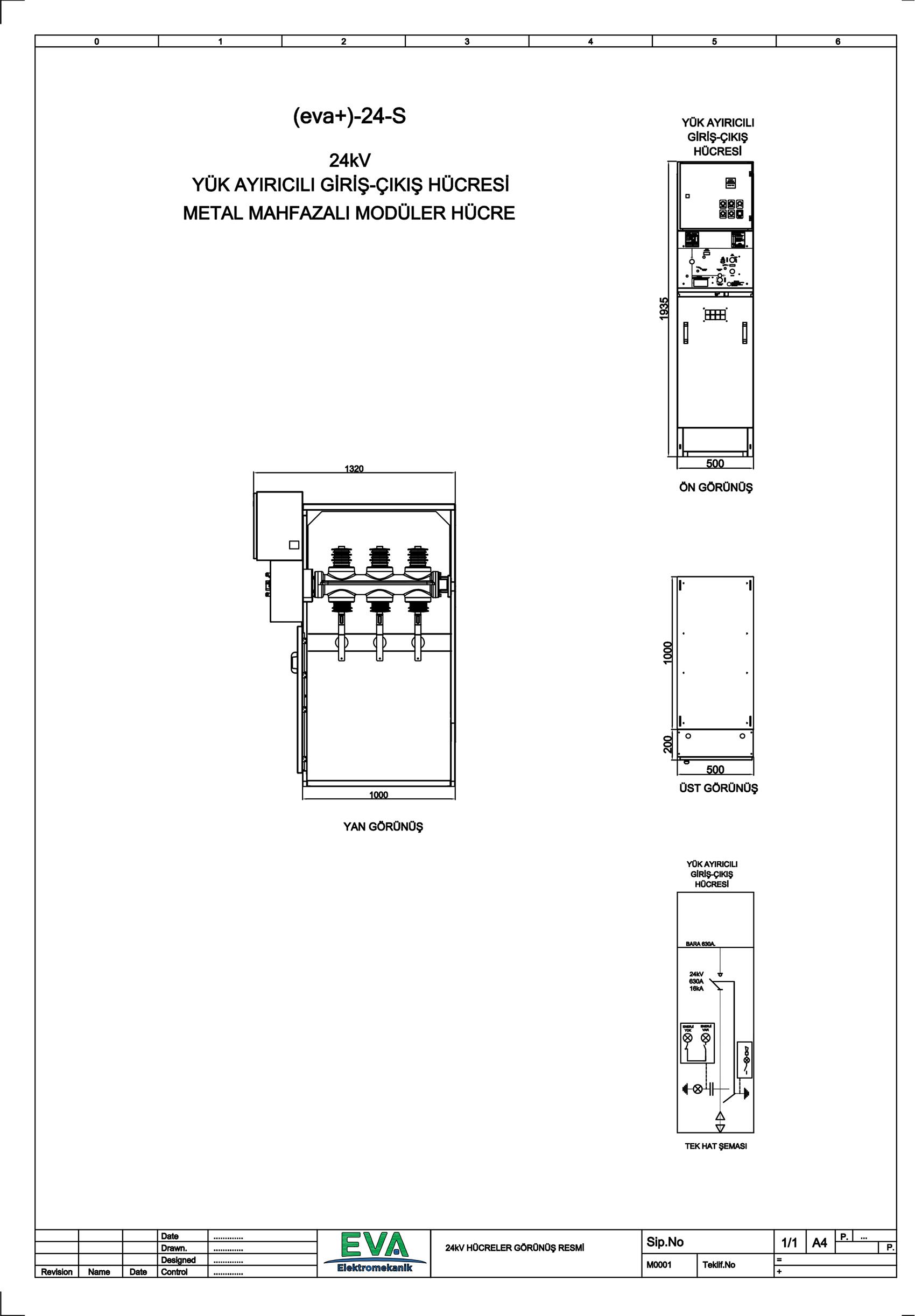 EVA+-24-S Yük Ayırıcılı Giriş Çıkış Hücresi (Metal Mahfazalı Modüler Hücre)