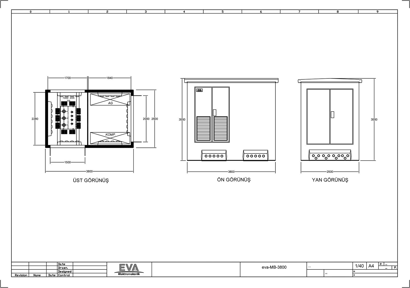 Monoblok Beton Köşk 3.800 x 2.500 x 3.530 mm